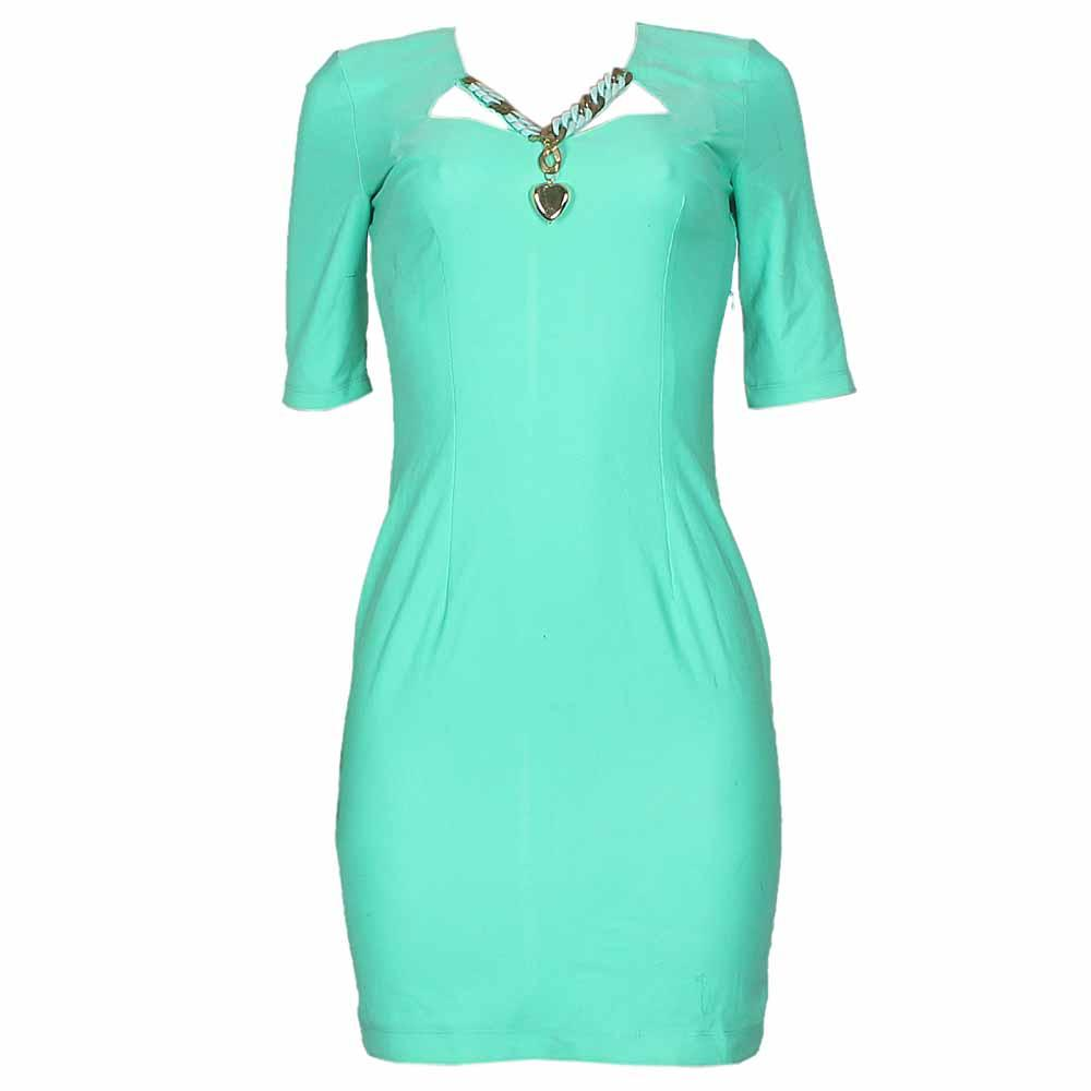 Elenore Green Necklace Designed Ladies Dress-UK10/L35Inc