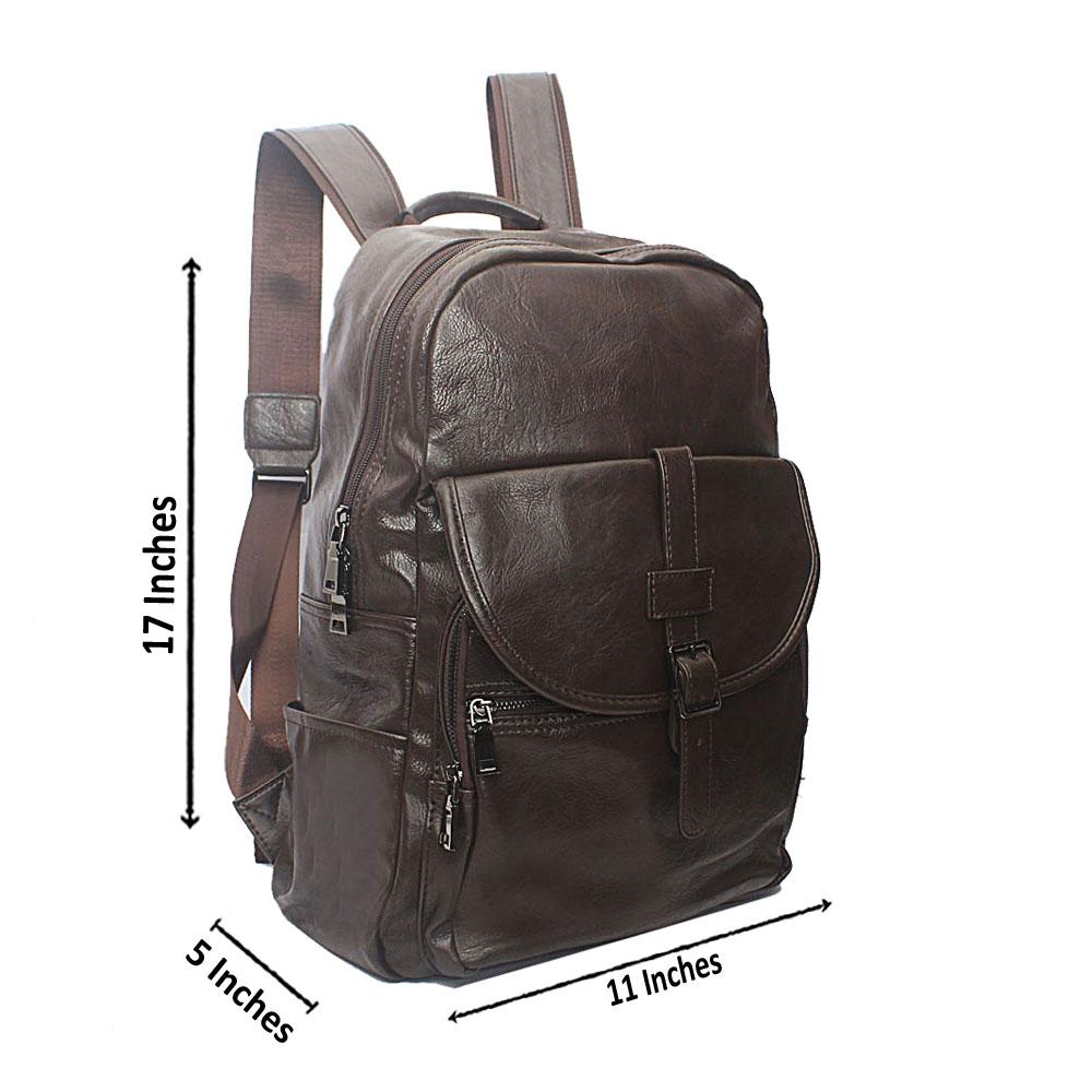 Casania Coffee Buckle Clip Leather Backpack