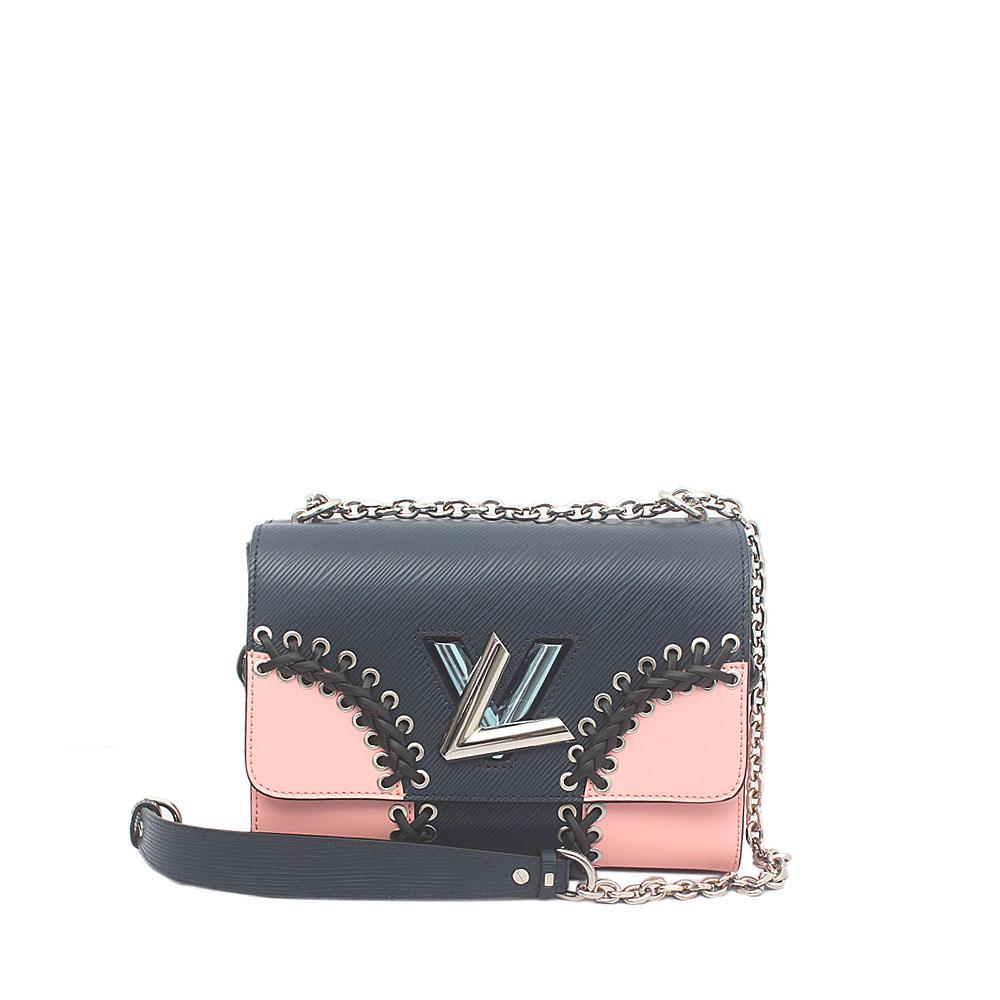 Navy Pink Saffiano Leather Small Twist MM Bag