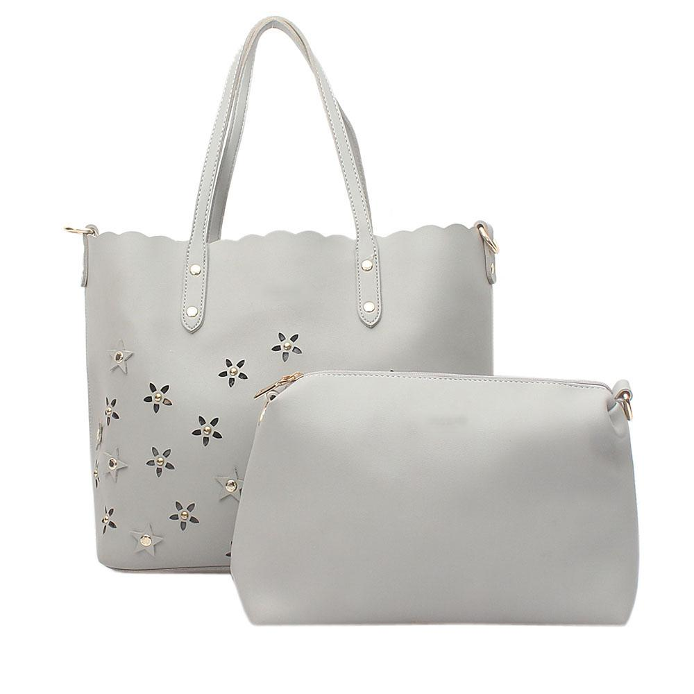 Gray Leather  Shoulder  Bag Wt Purse