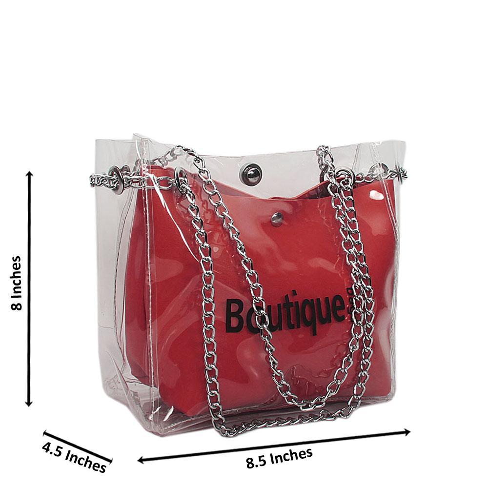 Wine Transparent Ice Rubber Leather Small Chain Handbag