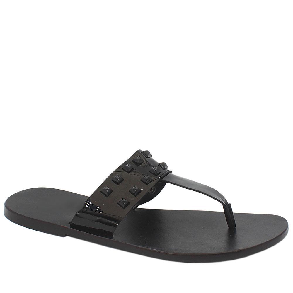 Black Studded Patent Italian Leather Men Slippers