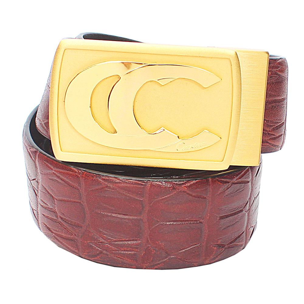 Brown Patterned Italian Leather Belt L50