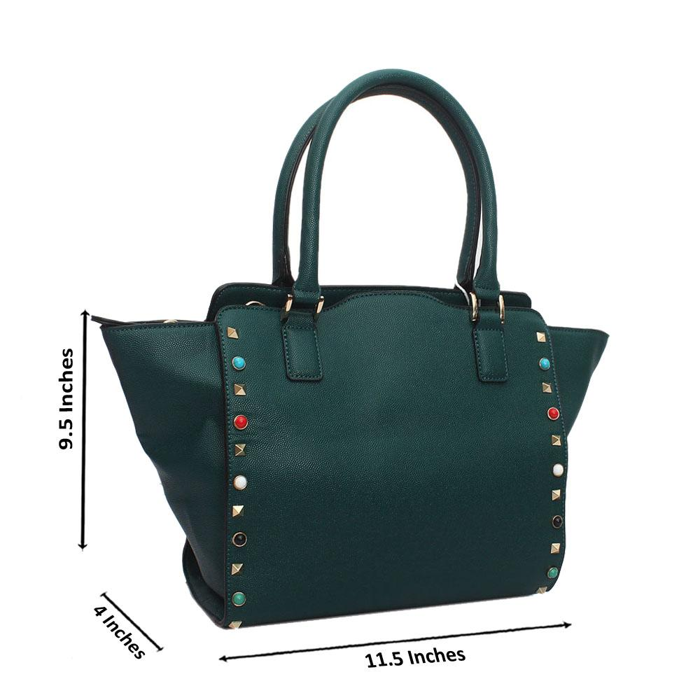 Green Leather Medium Handbag