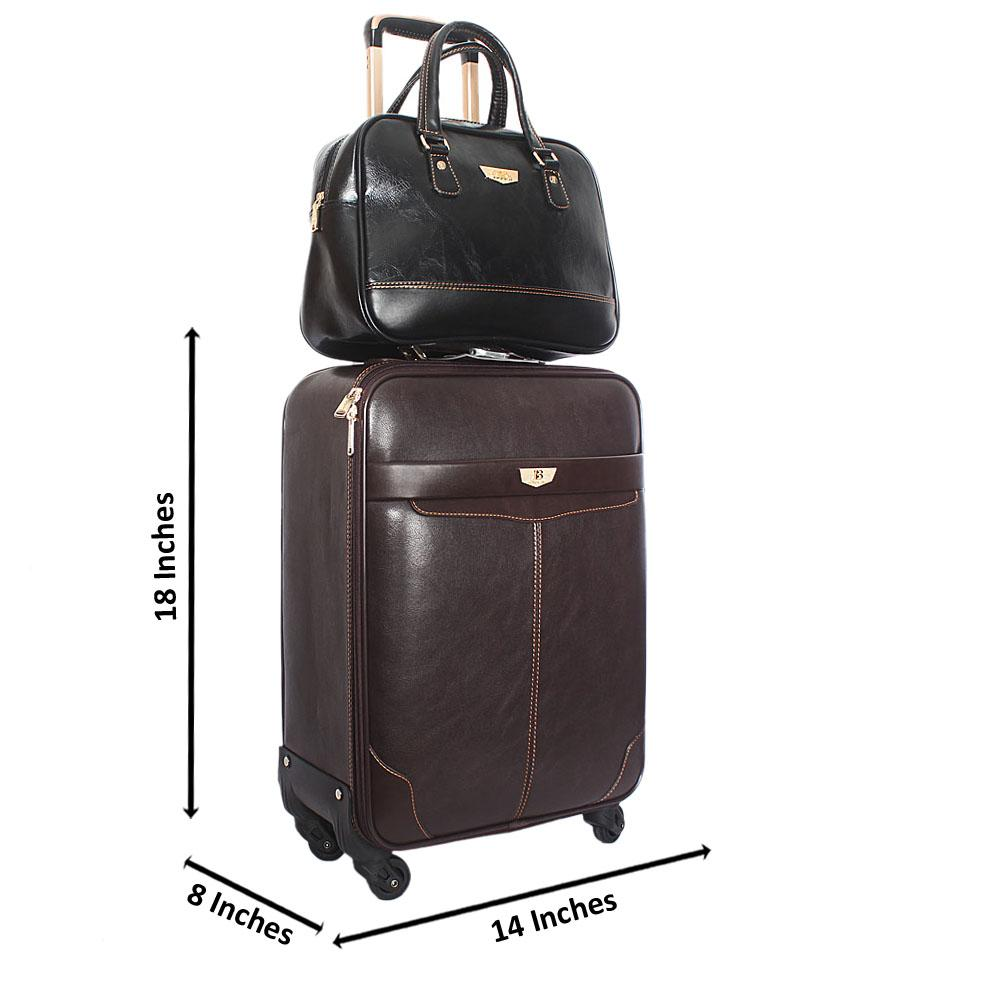 Brown Montego  Leather 20 Inch Carry On Luggage wt Black Travel Bag
