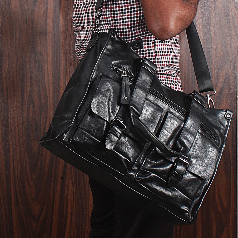 Casania Black Double Pocket Overnight Travel Bag