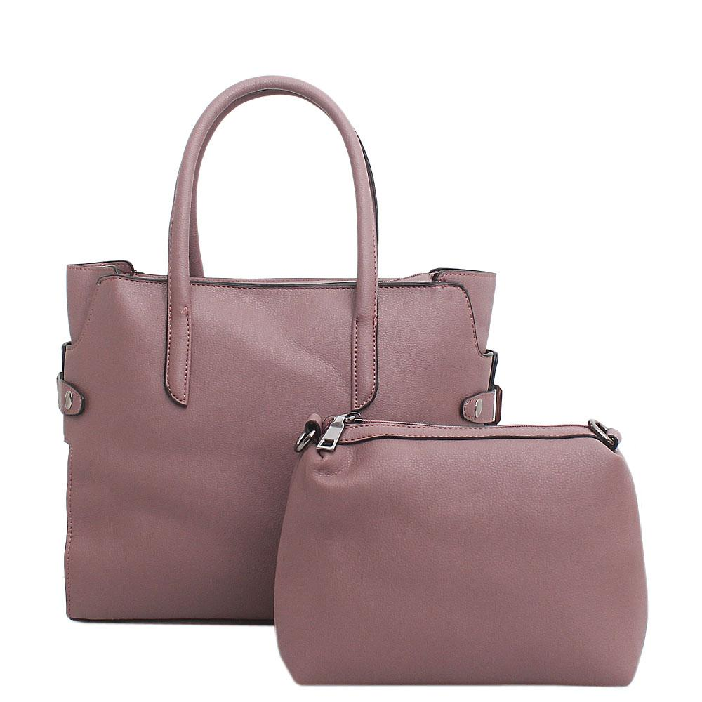 London Style Lilac Leather Tote Bag Wt Purse