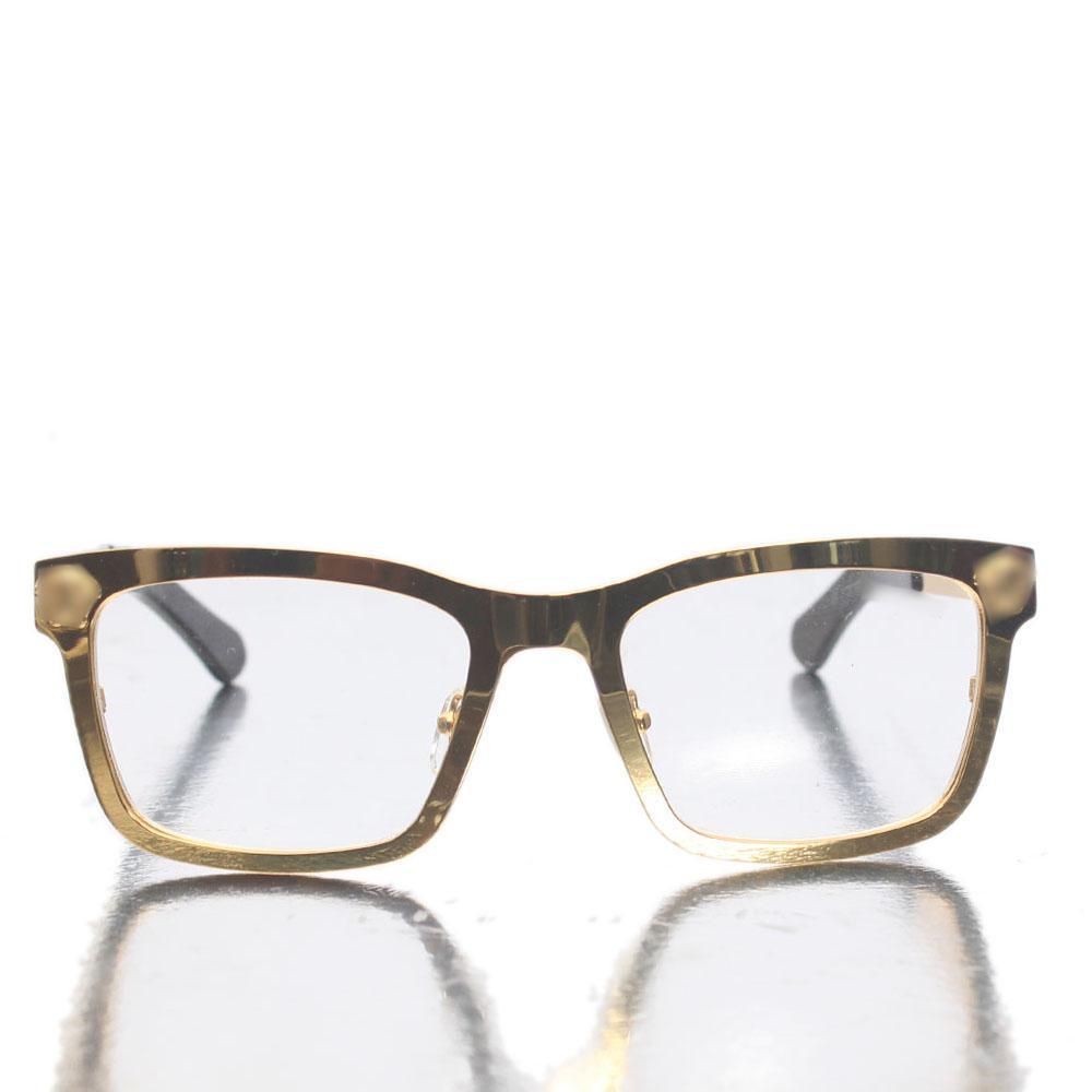 Gold Black Transparent Lens Glasses