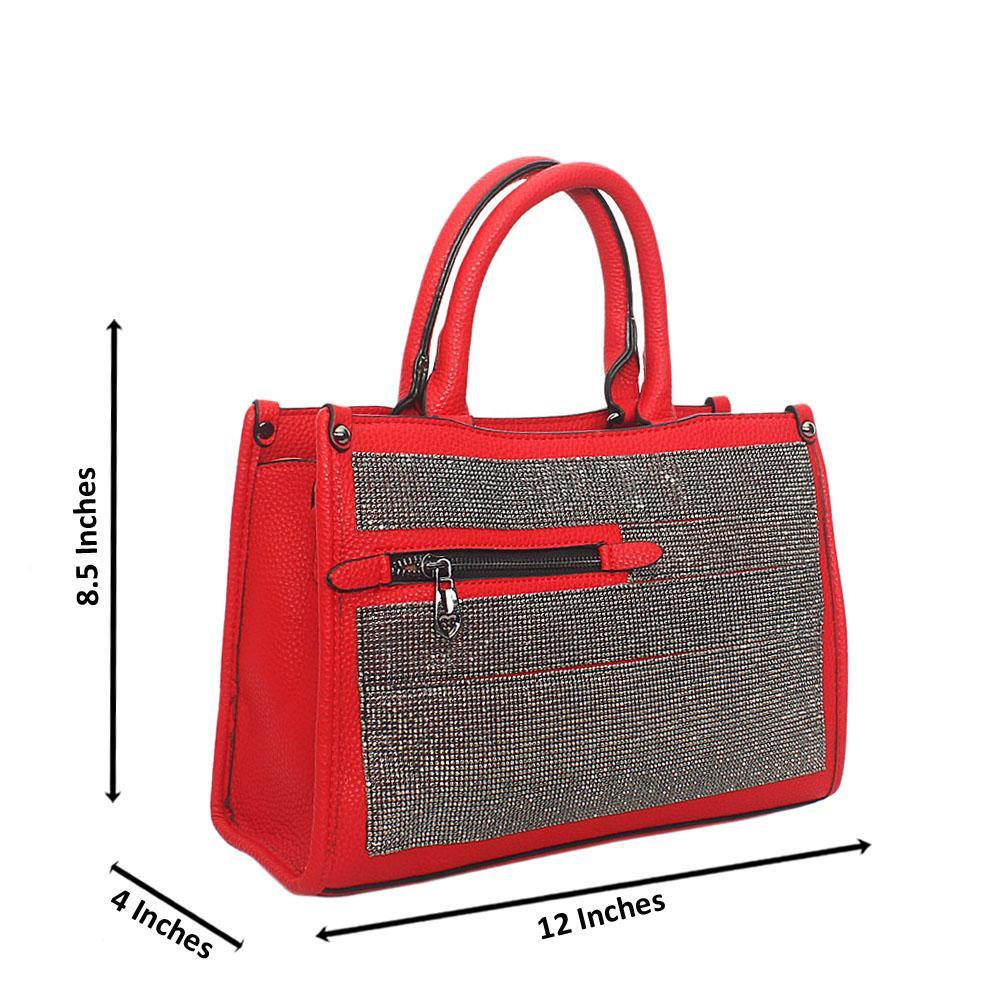 Red Kya Silver Studded Tote Handbag