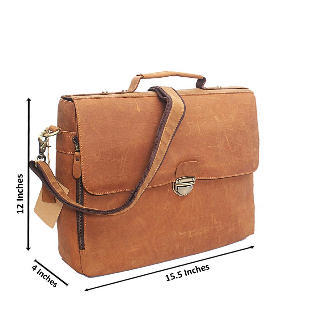 Brown Mono Clip Hand Made Leather Briefcase