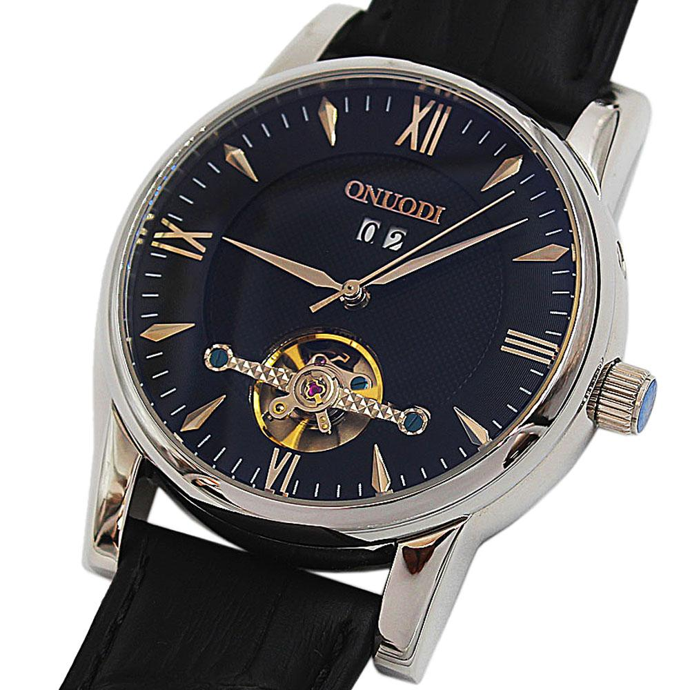 Shanghai Nudi Steel Black Leather Automatic RomanWatch