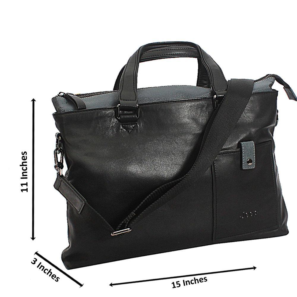 Black Kris Classic Smooth Grain Leather Tote Man Bag
