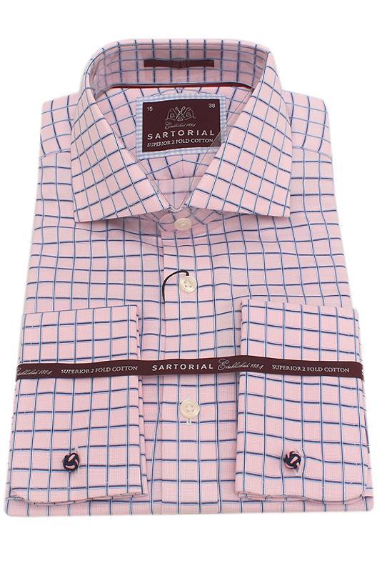 Sartorial Peach Blue Check 2 Fold Cotton Men Shirt
