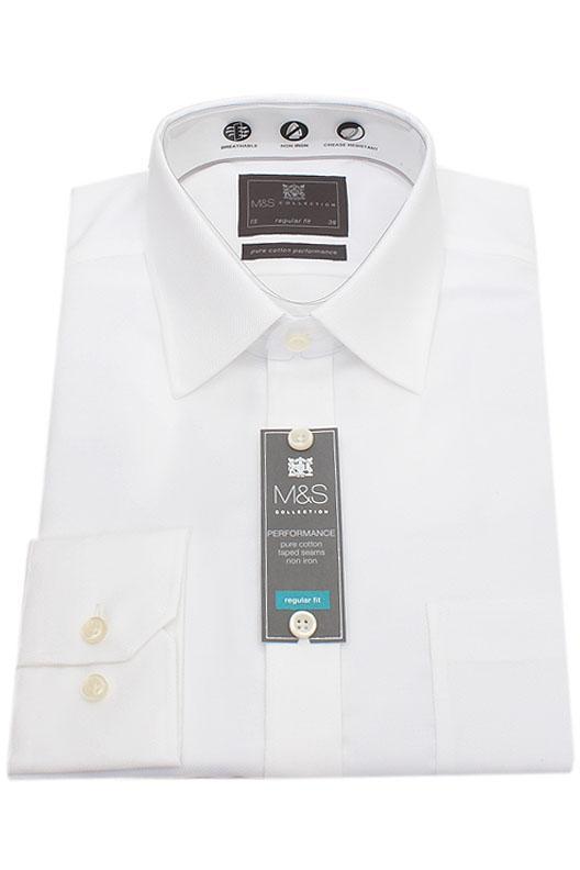 M&S Collection White Regular Fit Men Shirt