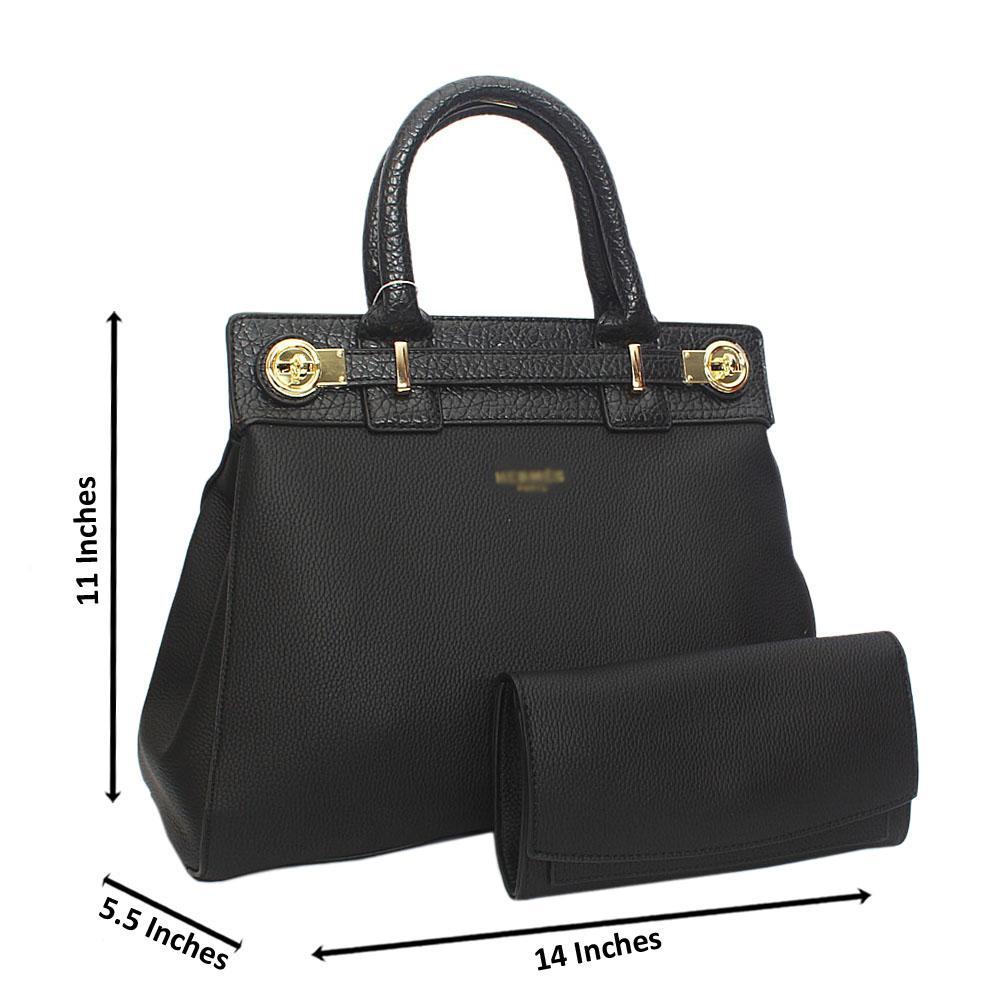 Classy Black Leather Tote Handbag