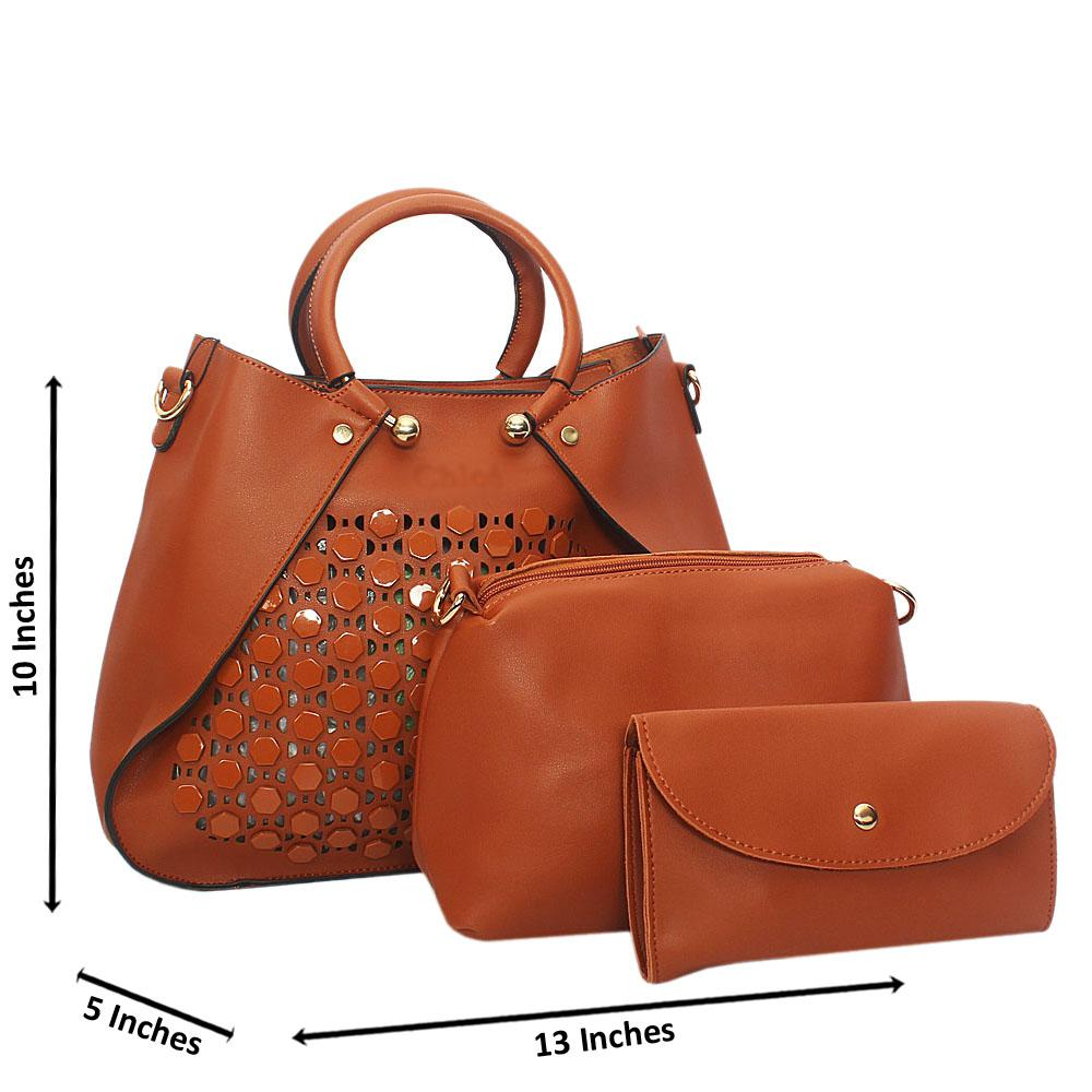 Brown Rose See Through Leather 3 in 1 Tote Handbag