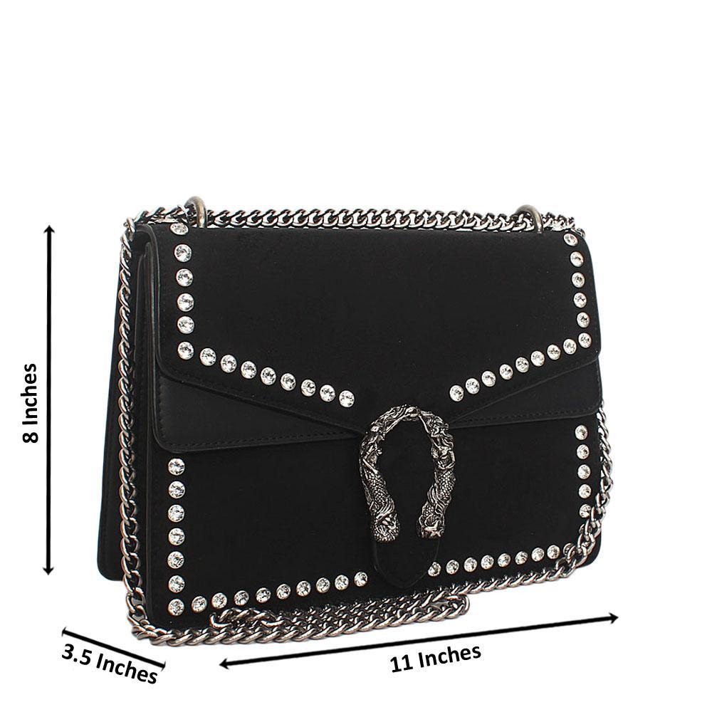 Black Ice Suede Leather Crossbody Handbag
