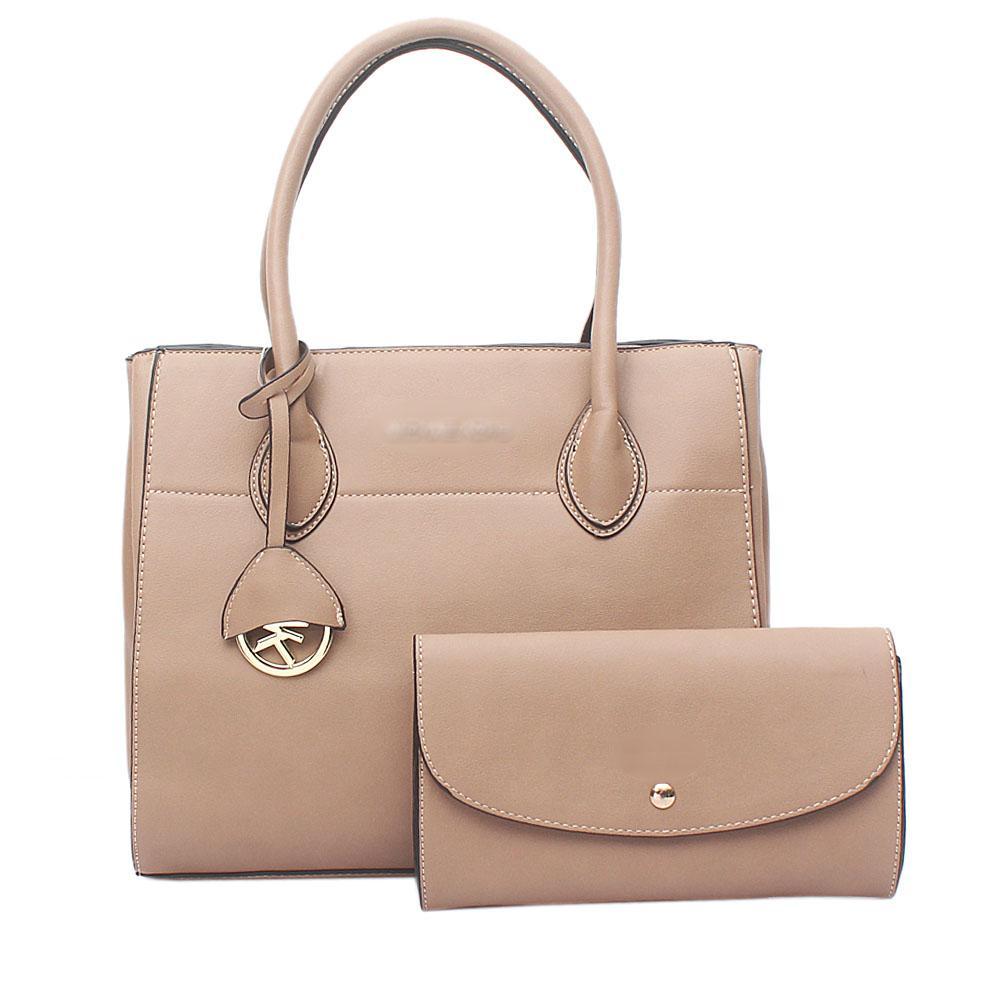 Khaki Brown Leather  Tote Bag Wt Purse
