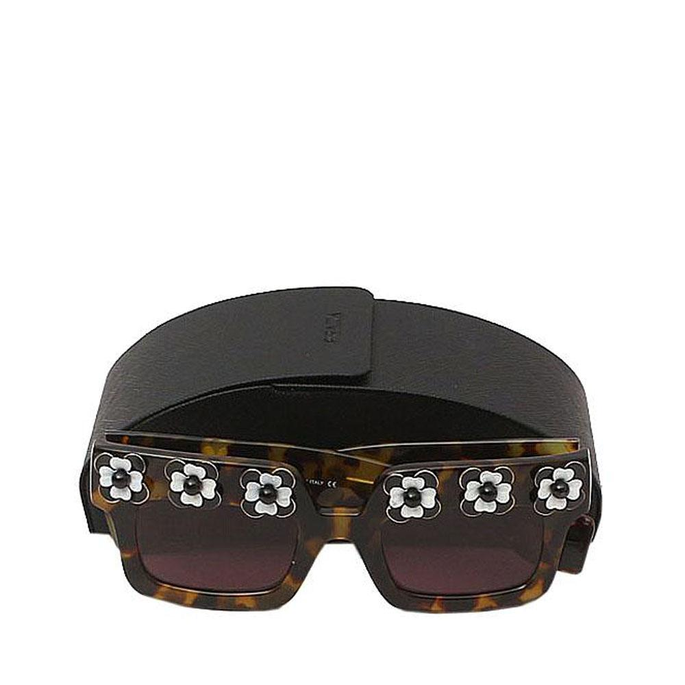 Brown Gold Square Pattern Sunglasses