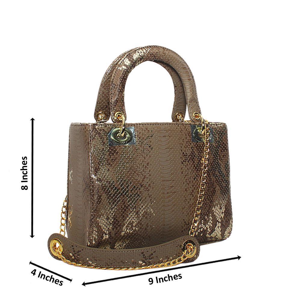 Khaki Gold Foxie Brown Croc Leather Small Tote Handbag