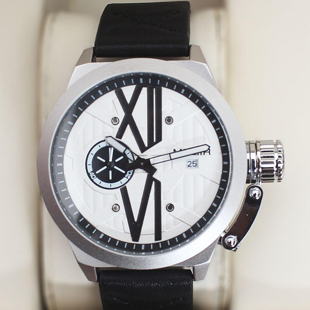 Megir Xchange Silver Black Leather Watch