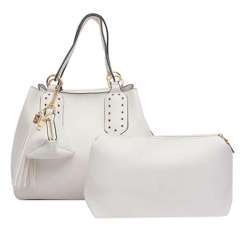 London Style White Leather Handbag   Wt Purse