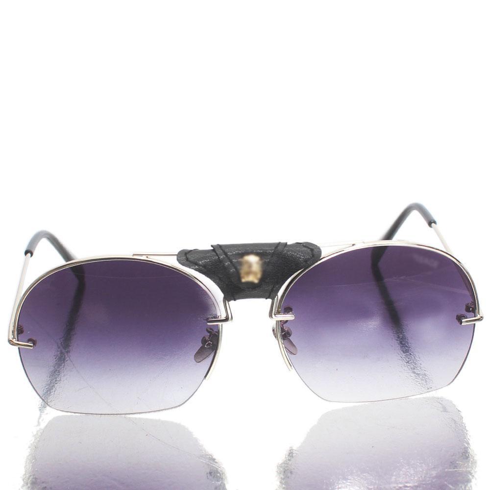 Silver Black Aviator Sunglasses