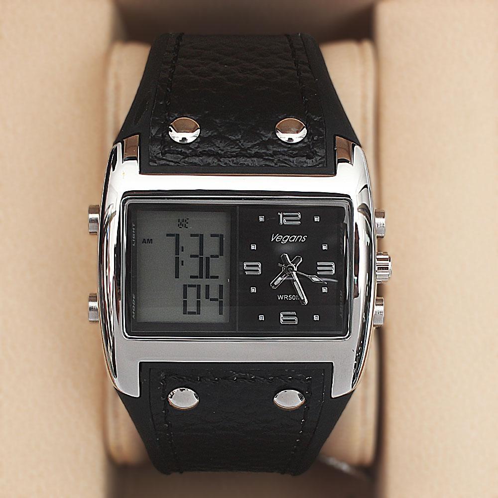 Vegans Black Leather Water Resistant 50M Analog-Digital Watch