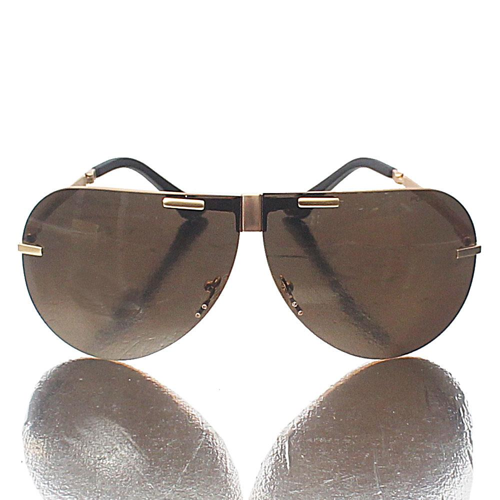 Aviator Rimless Foldable Brown Lens Sunglasses