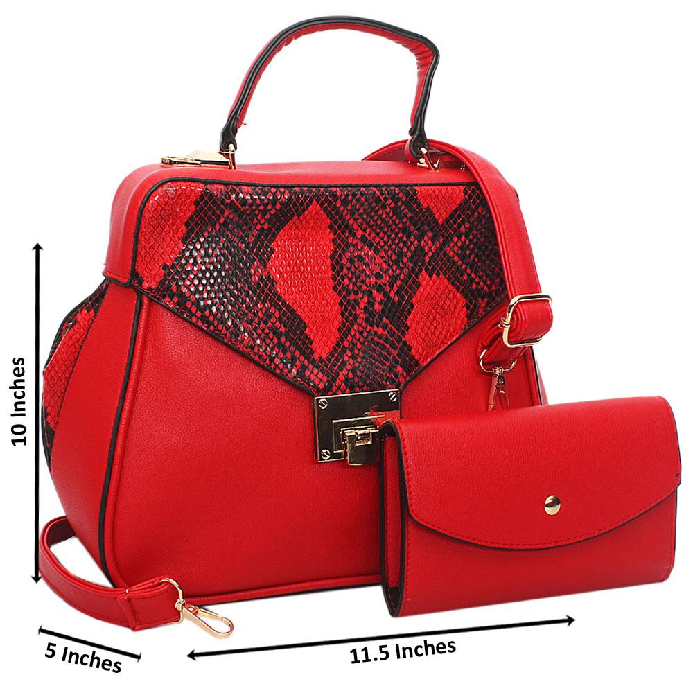 Red Snake Styled Leather Small Top Handle Handbag