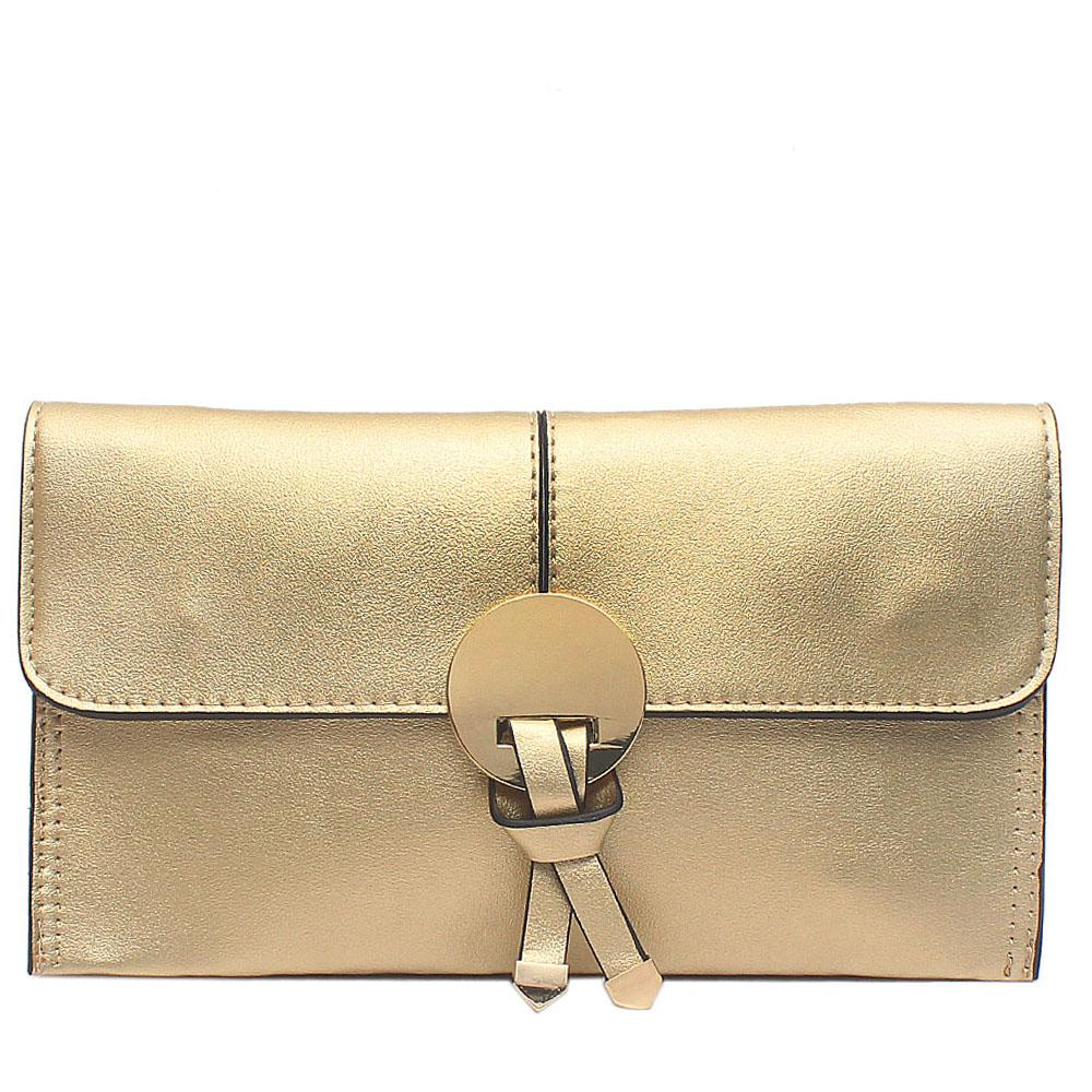 Gold Leather Flat Clutch