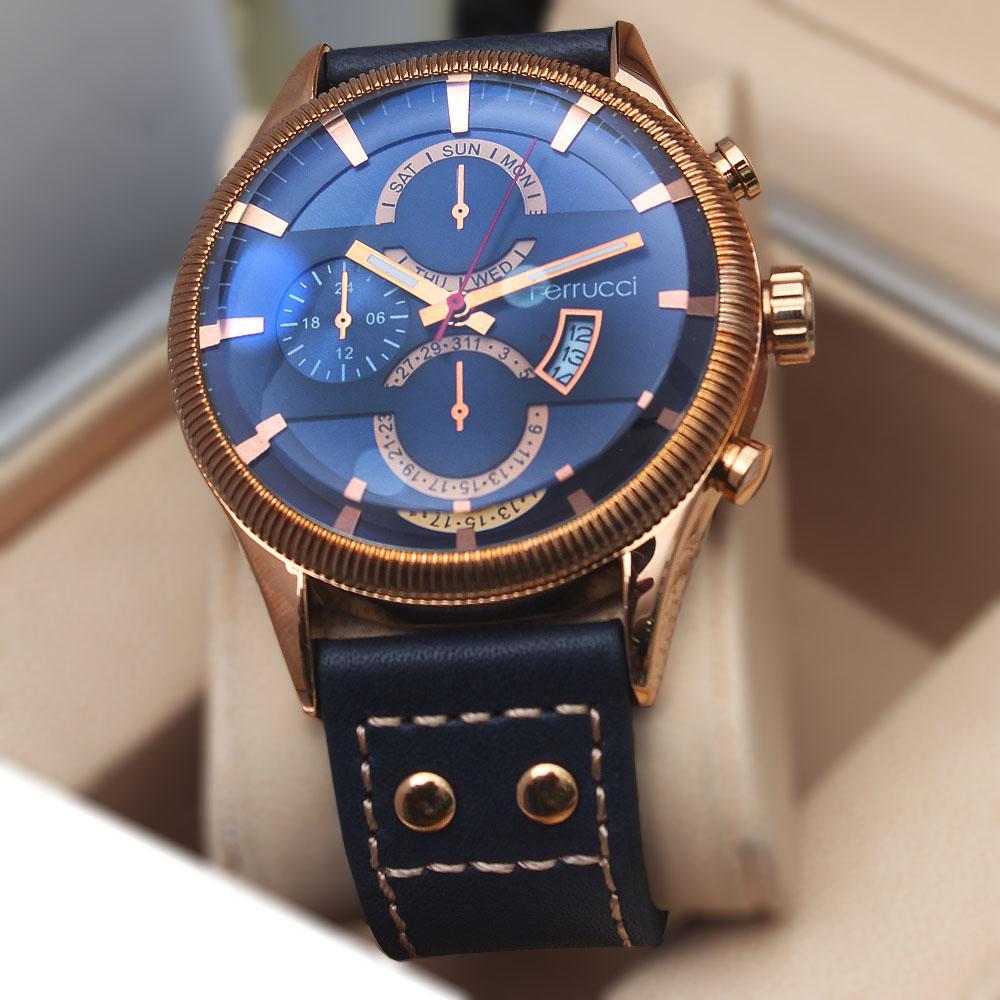 Ferruci Adriana Navy Gold Leather Watch