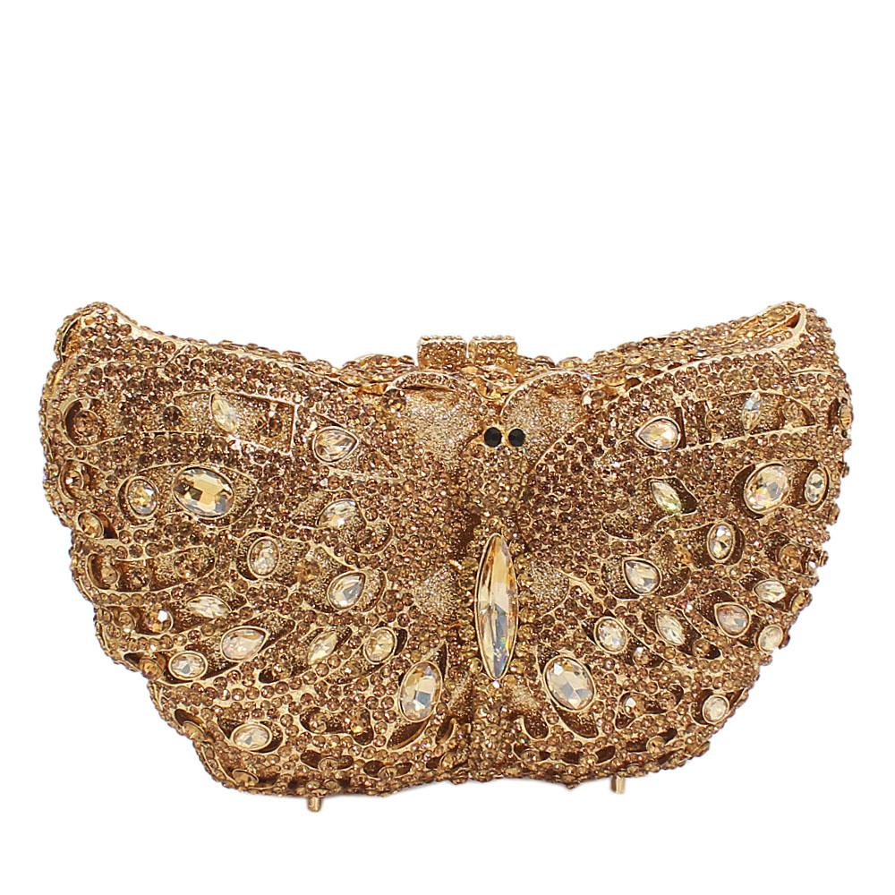 Gold Butterfly Diamante Crystals Clutch Purse