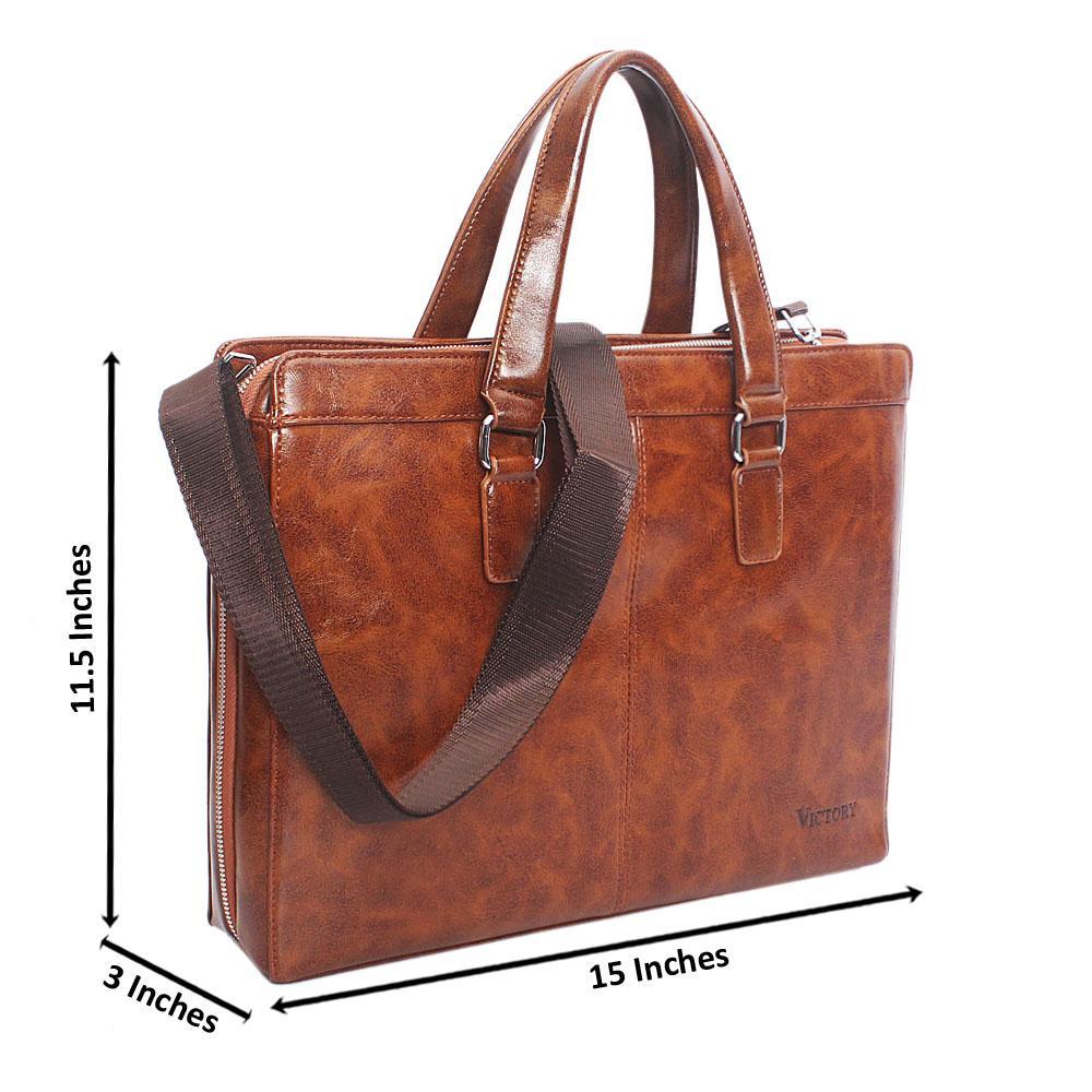 Brown Terminal  Zip Leather Tote Man Bag