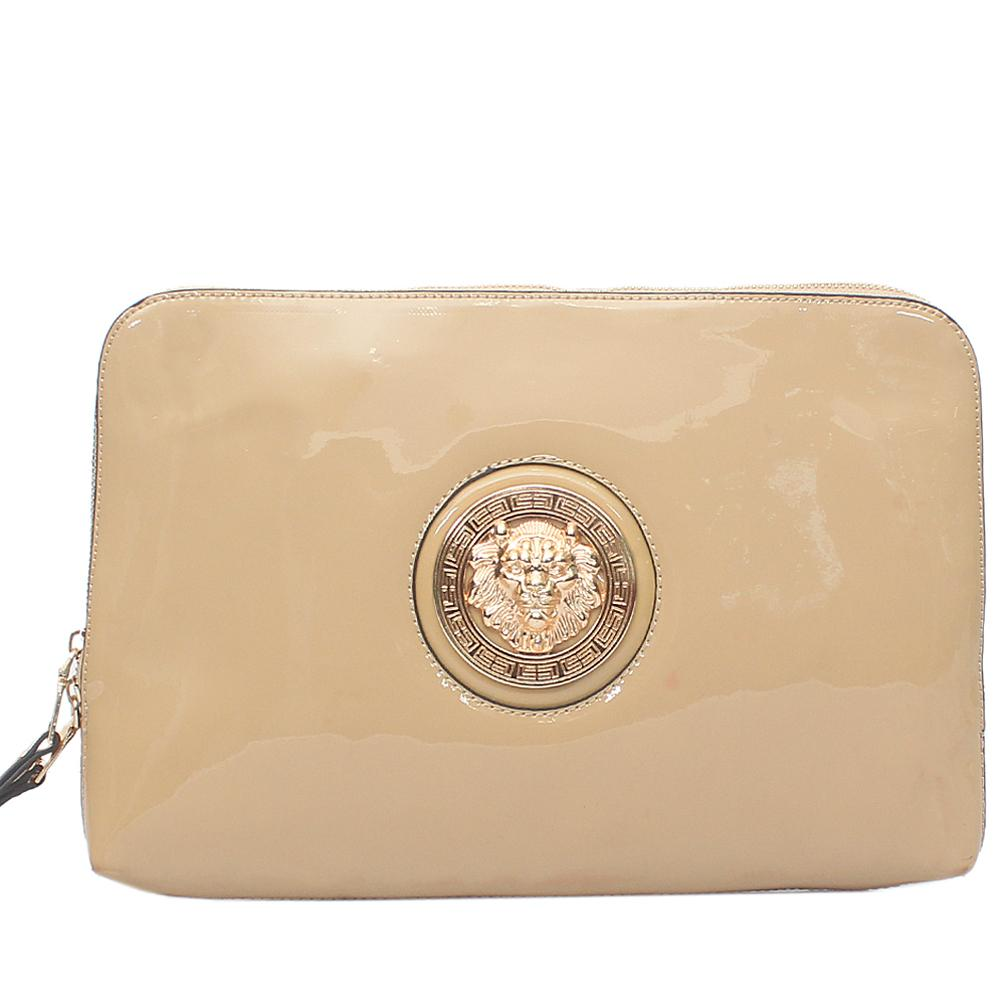 Fashion Beige Patent Leather Flat Clutch