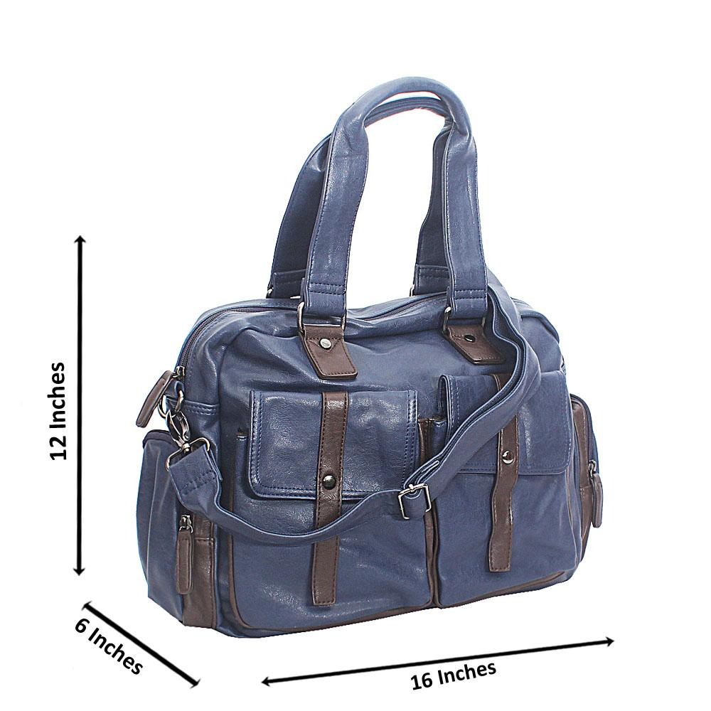 Pollito Blue Brown Double Pocket Cassania Leather Man Bag