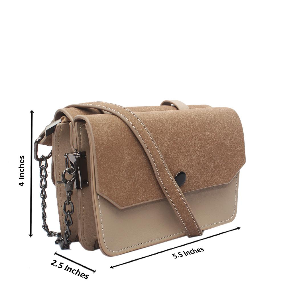 Khaki Blue Leather Mini Crossbody Bag