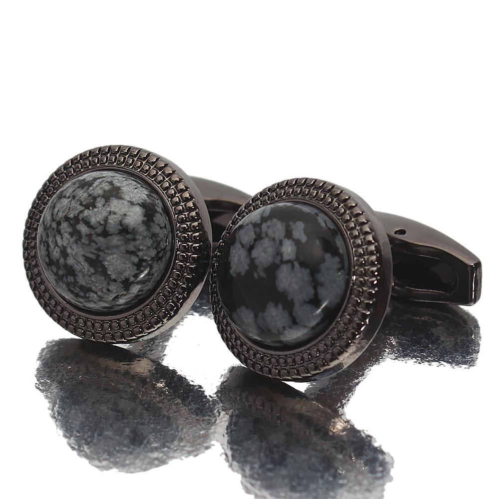 Black Globe Pearl Stainless Steel Cufflinks