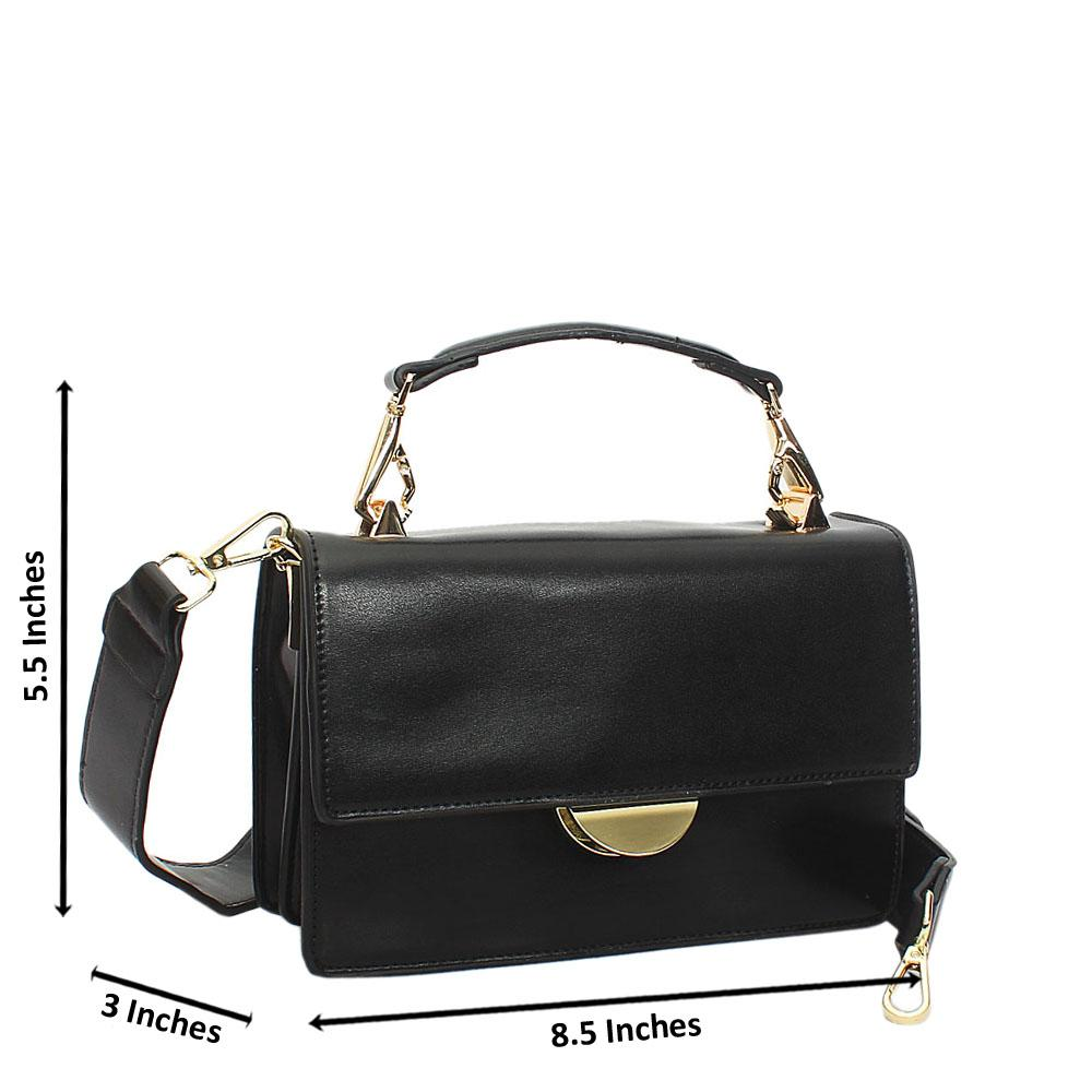 Black Leather Handle Crossbody Handbag