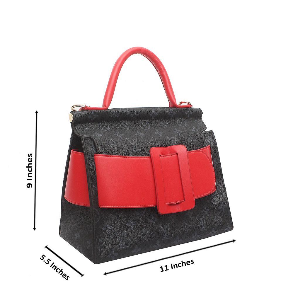 Black Red Leather Medium Belt Handle Bag