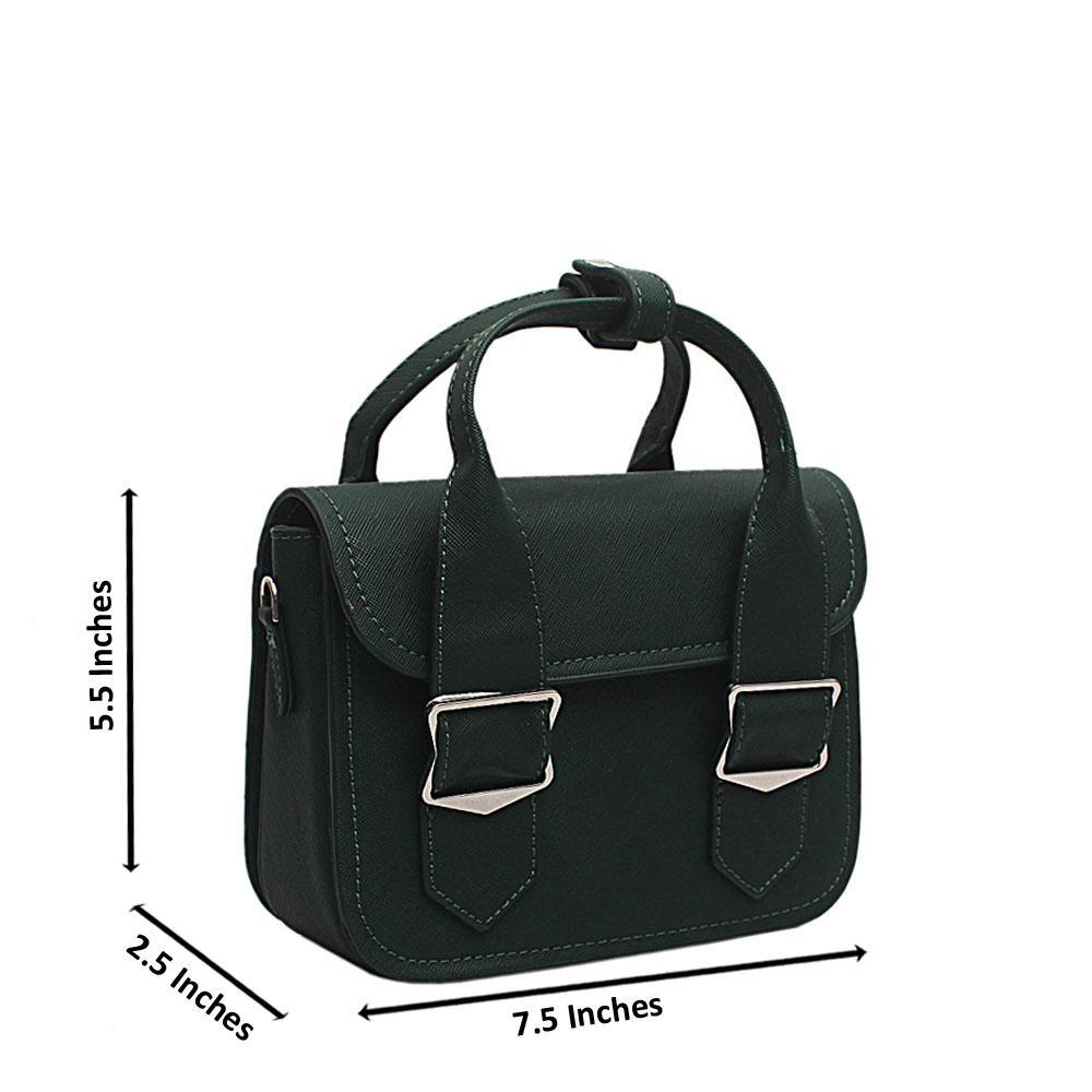 London Style Green Leather Mini Handbag