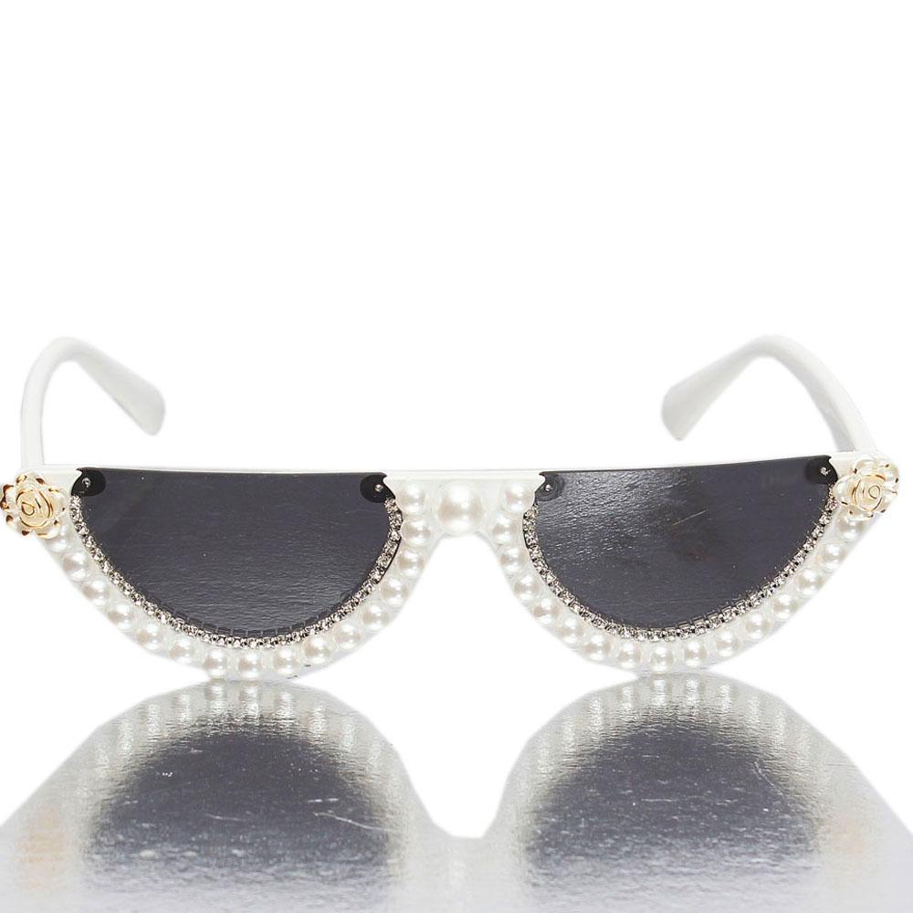 Pearl White Half Lens Sunglasses