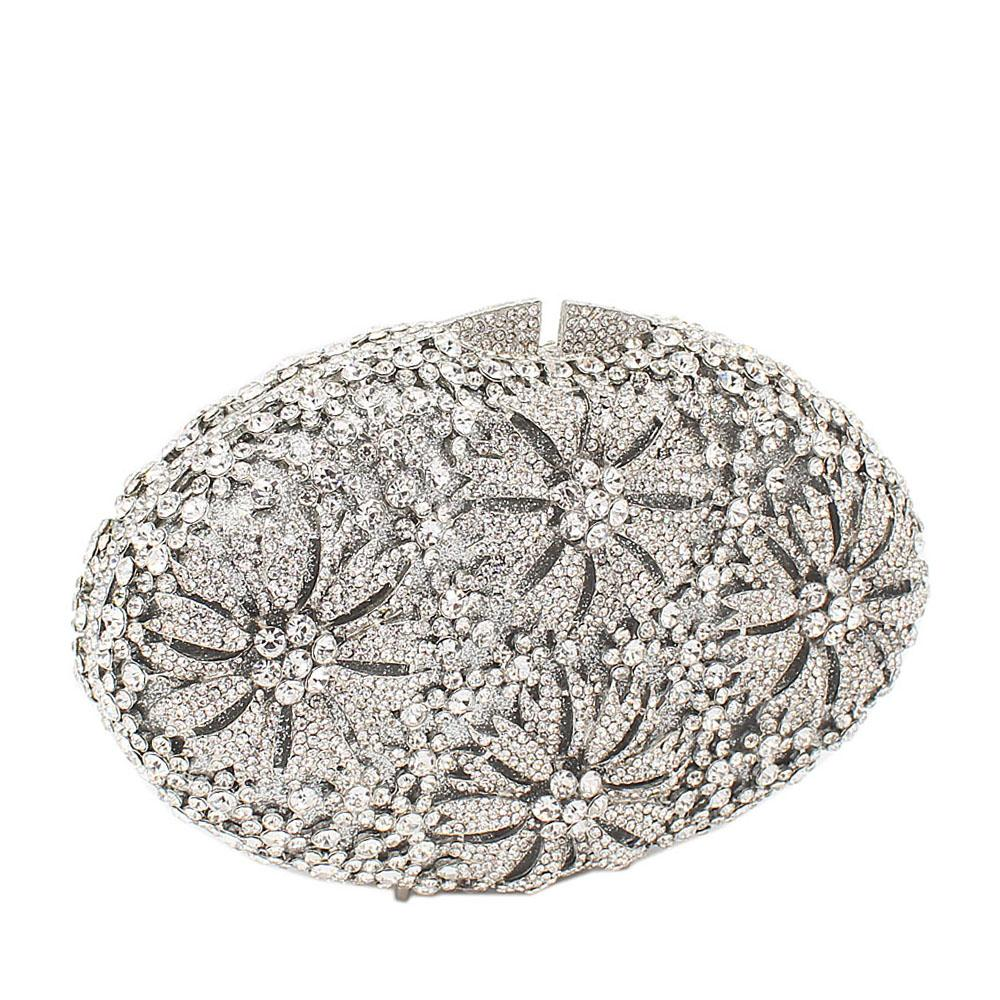 Silver 4-Petals Diamante Crystals Clutch Purse