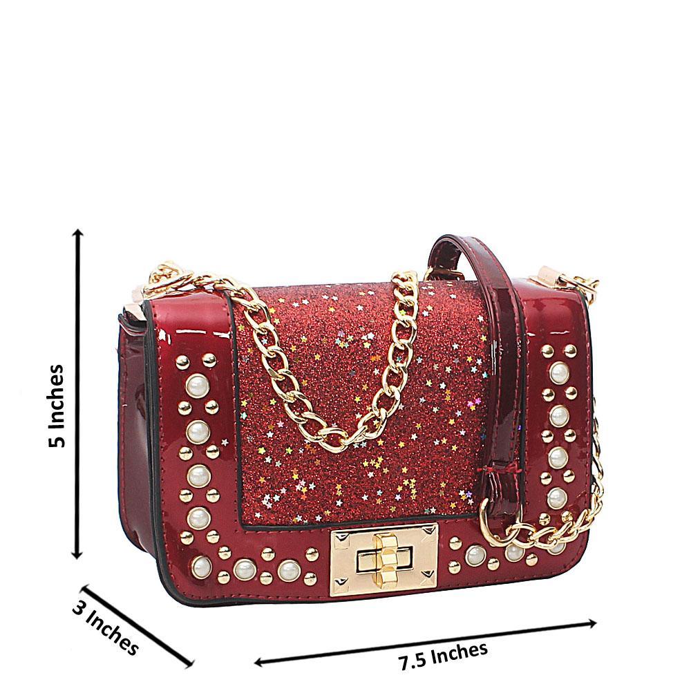 Wine Rose Pearl Glitz Patent Leather Mini Crossbody Bag