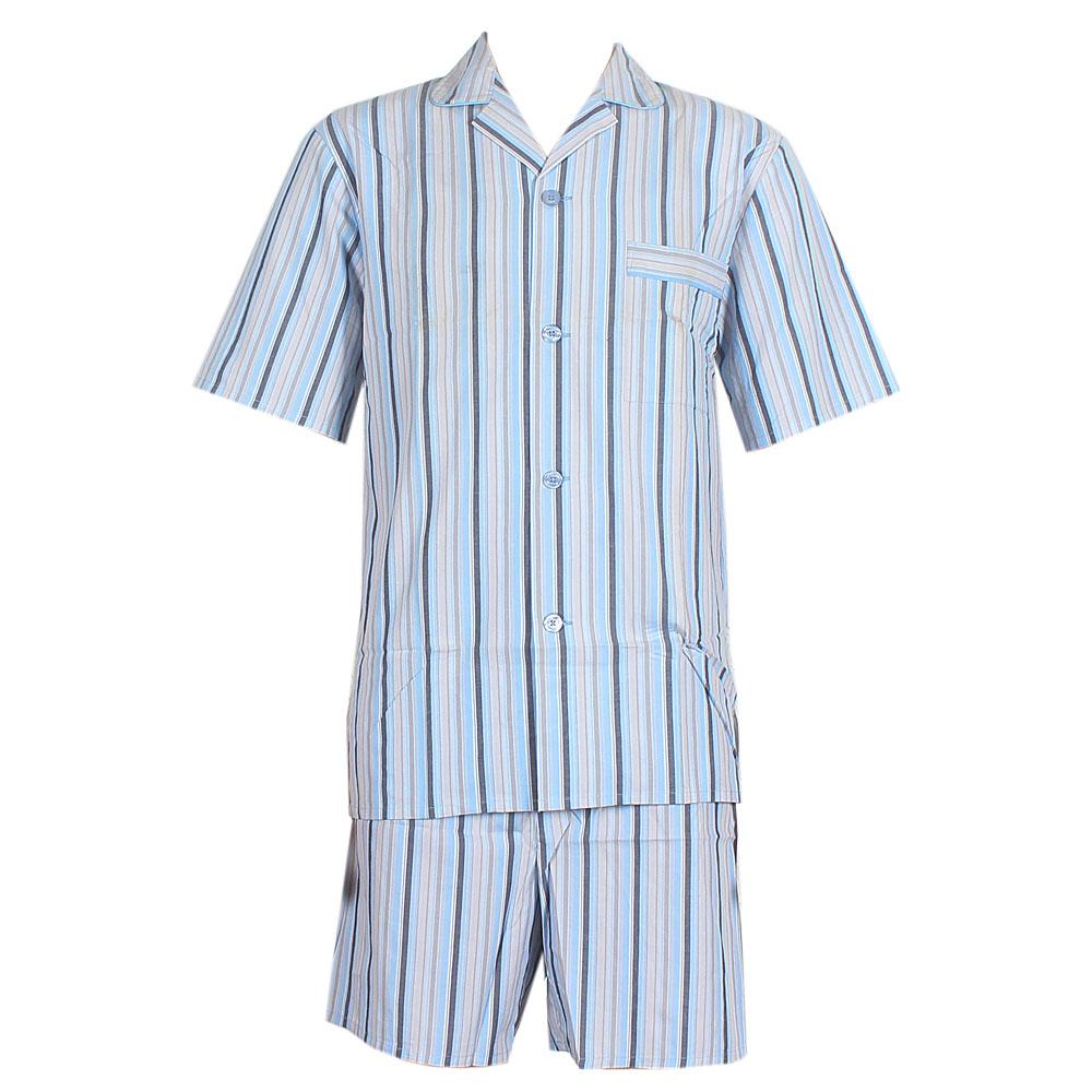 M & S Light Blue Mix Stripe Supersoft Shortie Men Pyjamas