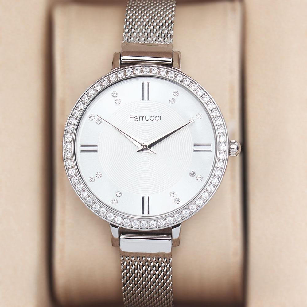 Ferrucci Studded Silver Mesh Ladies Watch