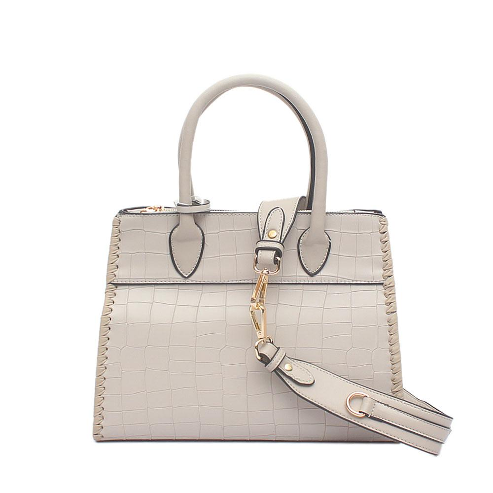 London Style Amethyst Grey Croc Leather Tote Bag