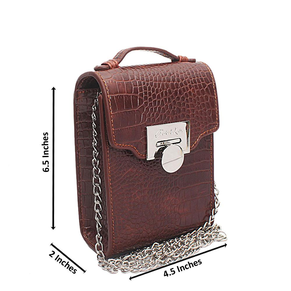 Brown Croc Leather Mini Bag