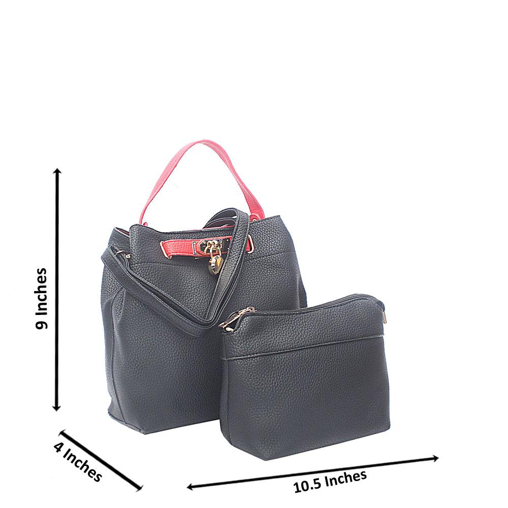 Black Red Pebbled Leather Small Handbag