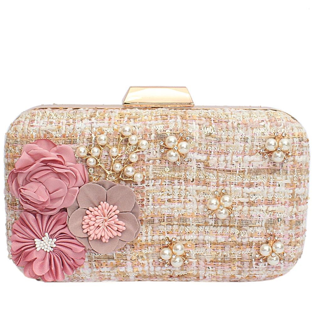 Gold Mix Fabric Woven Hard Clutch